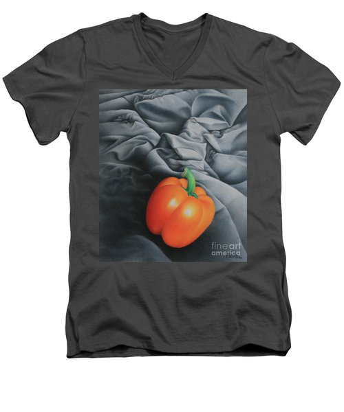 Men's V-Neck T-Shirt featuring the painting Only Orange by Pamela Clements