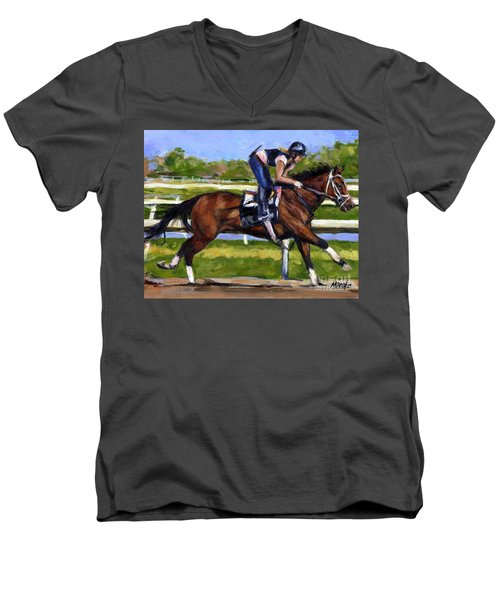 Men's V-Neck T-Shirt featuring the painting Onlyforyou by Molly Poole