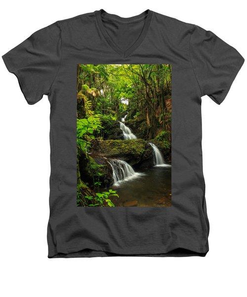 Onomea Falls Men's V-Neck T-Shirt by James Eddy