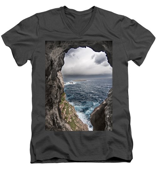 A Natural Window In Minorca North Coast Discover Us An Impressive View Of Sea And Sky - Open Window Men's V-Neck T-Shirt by Pedro Cardona