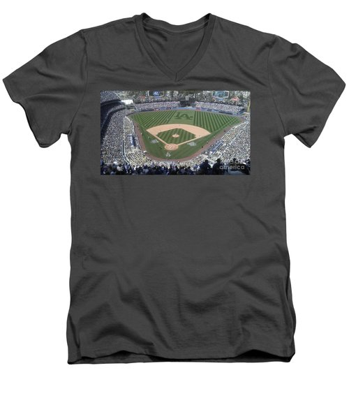 Men's V-Neck T-Shirt featuring the photograph Opening Day Upper Deck by Chris Tarpening