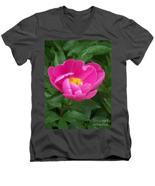 Men's V-Neck T-Shirt featuring the photograph Peony  by Eunice Miller