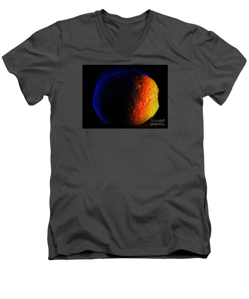 Orange And Blue Men's V-Neck T-Shirt by Paul  Wilford