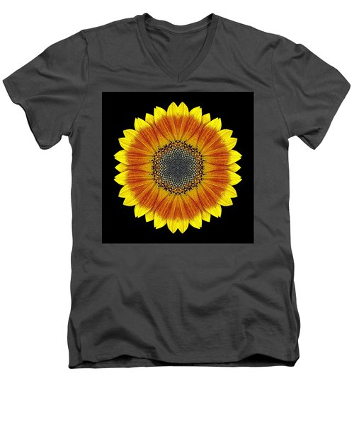 Orange And Yellow Sunflower Flower Mandala Men's V-Neck T-Shirt by David J Bookbinder