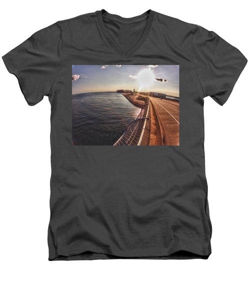 Orange Beach From Perdido Bridge Men's V-Neck T-Shirt by Michael Thomas