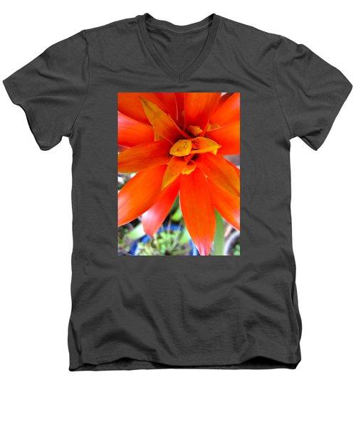 Orange Bromeliad Men's V-Neck T-Shirt by Lehua Pekelo-Stearns