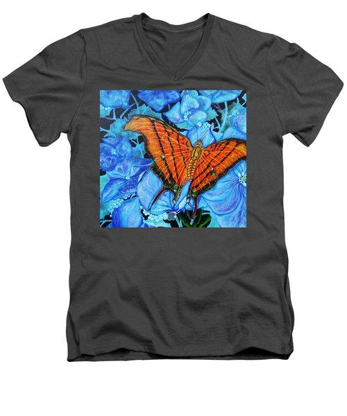Orange Butterfly Men's V-Neck T-Shirt