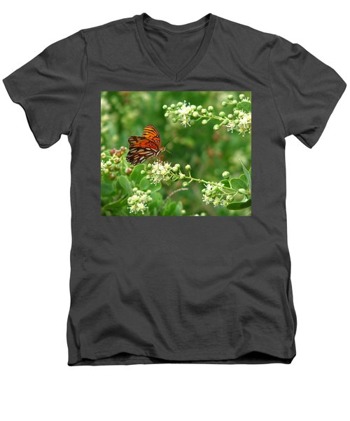 Men's V-Neck T-Shirt featuring the photograph Orange Butterfly by Marcia Socolik
