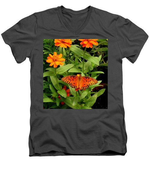 Orange Creatures Men's V-Neck T-Shirt by Rodney Lee Williams