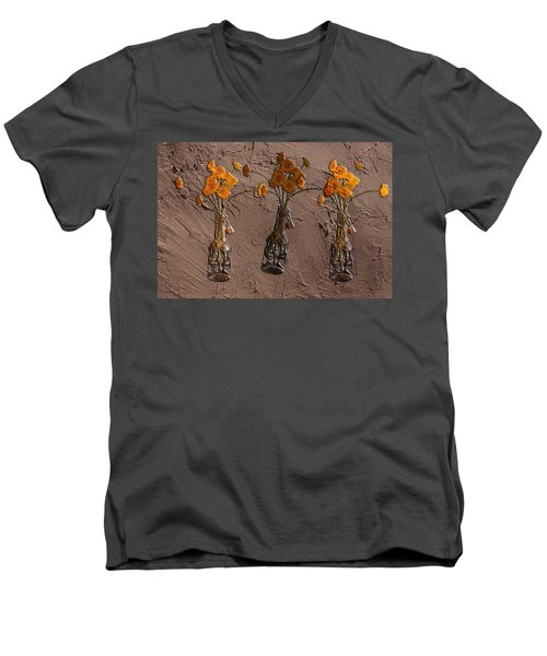 Orange Flowers Embedded In Adobe Men's V-Neck T-Shirt