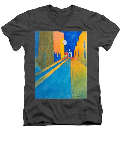Orange France At Night Men's V-Neck T-Shirt by Lee Beuther