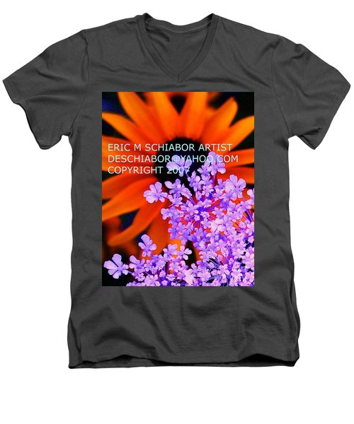 Orange Lavender Flower Men's V-Neck T-Shirt by Eric  Schiabor