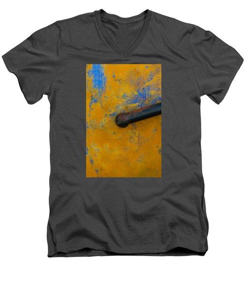 Orange On Blue Men's V-Neck T-Shirt by Edgar Laureano