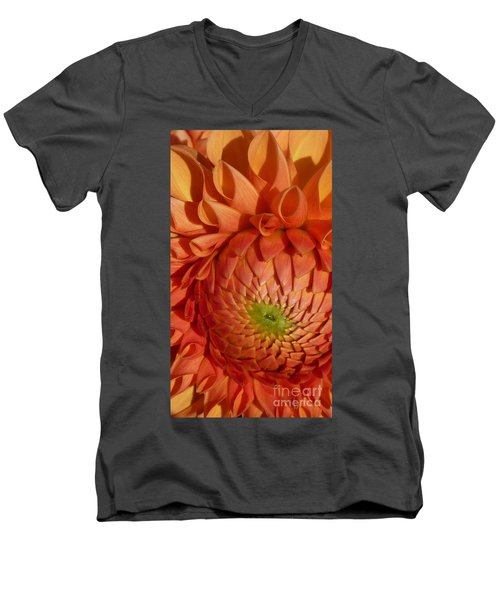 Men's V-Neck T-Shirt featuring the photograph Orange Sherbet Delight Dahlia by Susan Garren