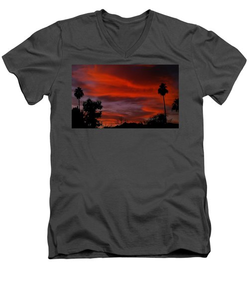 Men's V-Neck T-Shirt featuring the photograph Orange Sky by Chris Tarpening