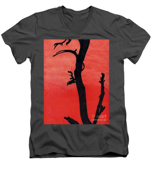Men's V-Neck T-Shirt featuring the drawing Orange Sunset Silhouette Tree by D Hackett