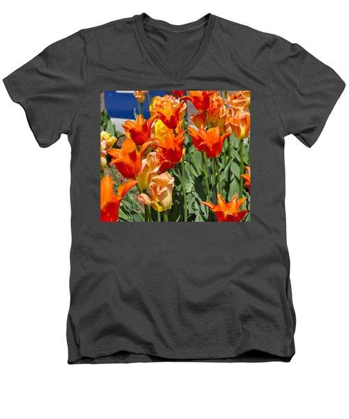 Orange Tulips Men's V-Neck T-Shirt