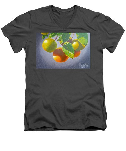 Oranges Men's V-Neck T-Shirt by Carey Chen