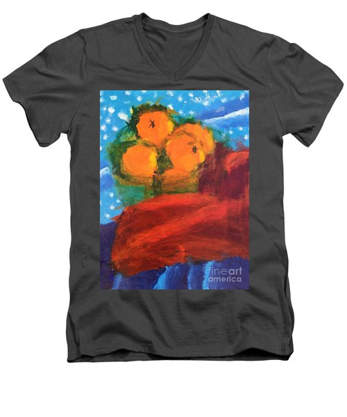 Men's V-Neck T-Shirt featuring the painting Oranges by Donald J Ryker III