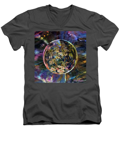Men's V-Neck T-Shirt featuring the digital art Orb Of Roses Past by Robin Moline