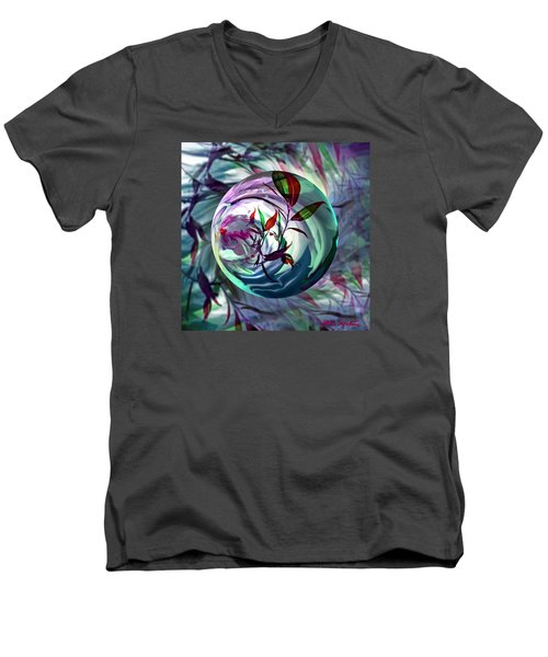 Men's V-Neck T-Shirt featuring the digital art Orbiting Cranberry Dreams by Robin Moline