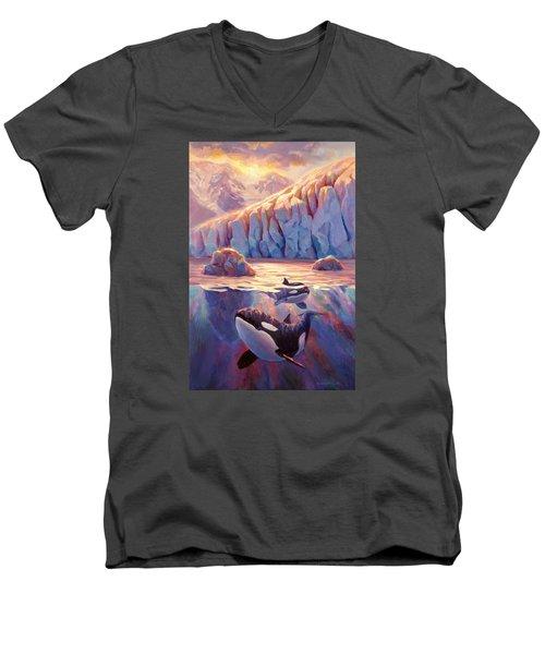 Orca Sunrise At The Glacier Men's V-Neck T-Shirt by Karen Whitworth