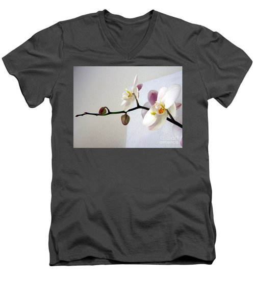 Orchid Coming Out Of Painting Men's V-Neck T-Shirt by Barbara Yearty