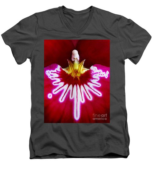 Men's V-Neck T-Shirt featuring the photograph Orchid Harlequinn-pansy Orchid by Jennie Breeze
