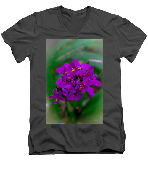 Orchid In Motion Men's V-Neck T-Shirt