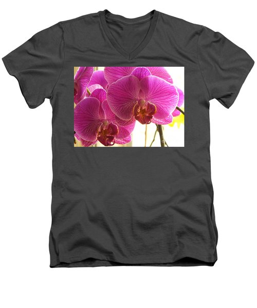 Men's V-Neck T-Shirt featuring the photograph Orchid by Lingfai Leung