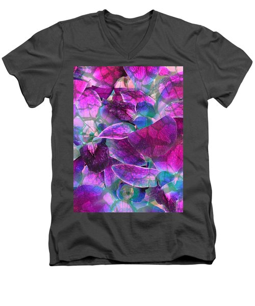 Men's V-Neck T-Shirt featuring the photograph Orchid Splash by Diane Alexander