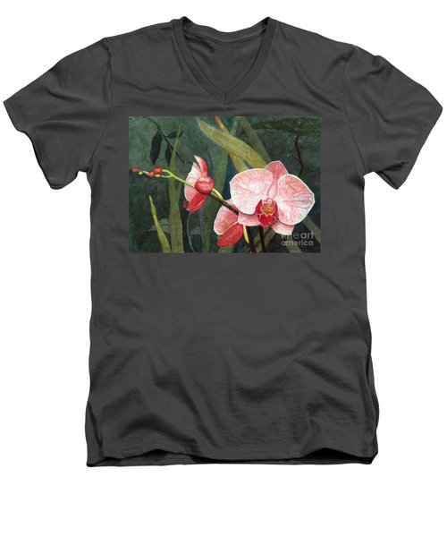Orchid Trio 2 Men's V-Neck T-Shirt by Barbara Jewell