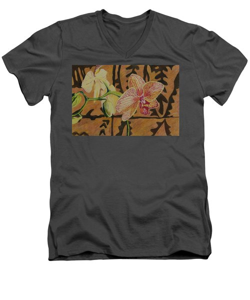 Orchid With Tapa Men's V-Neck T-Shirt