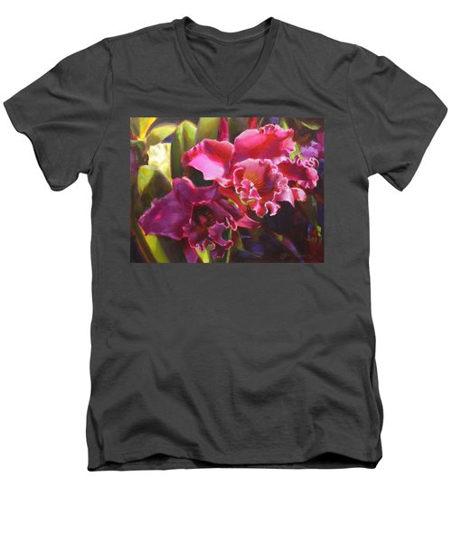 Orchids In Magenta Men's V-Neck T-Shirt