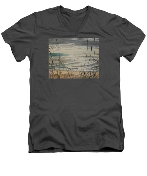 Men's V-Neck T-Shirt featuring the painting Oregon Coast With Sea Grass by Ian Donley