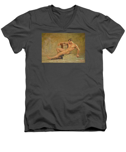 Original Classic Oil Painting Gay Man Body Art Male Nude -023 Men's V-Neck T-Shirt by Hongtao     Huang
