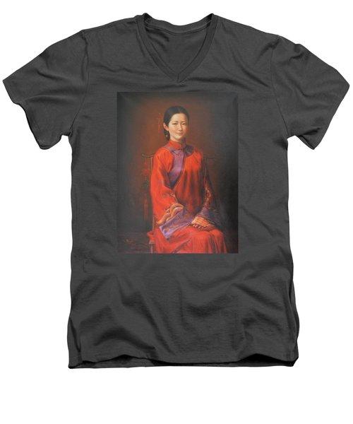 Original Classic Portrait Oil Painting Woman Art - Beautiful Chinese Bride Girl Men's V-Neck T-Shirt by Hongtao     Huang