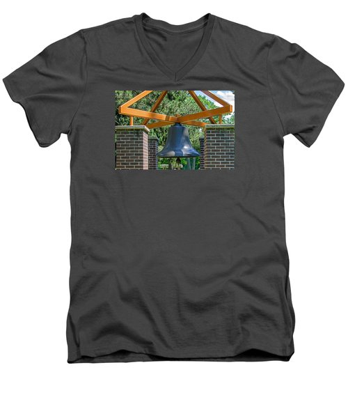 Men's V-Neck T-Shirt featuring the photograph Original Fire Bell From The Superior Fire Dept In Wisconsin  1892  by Susan  McMenamin