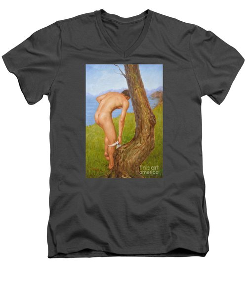 Original Oil Painting Man Body Art Male Nude-029 Men's V-Neck T-Shirt