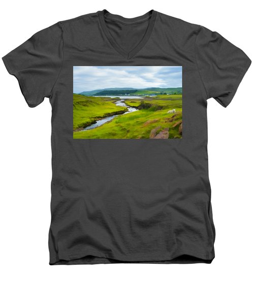 Osdale River Leading Into Loch Dunvegan In Scotland Men's V-Neck T-Shirt