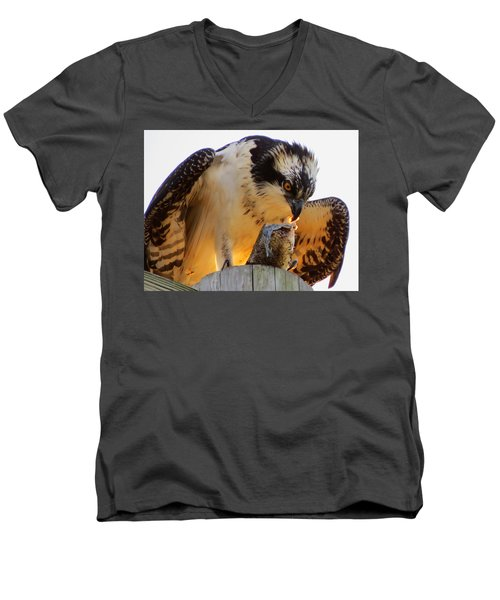 Men's V-Neck T-Shirt featuring the photograph Osprey Breakfast by Dianne Cowen