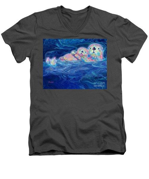 Men's V-Neck T-Shirt featuring the mixed media Otter Family by Teresa Ascone
