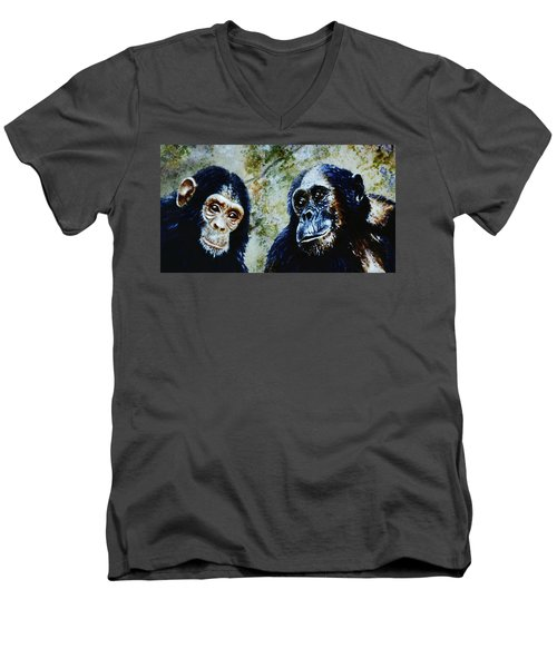 Our Closest Relatives Men's V-Neck T-Shirt by Hartmut Jager