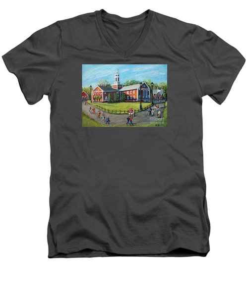 Men's V-Neck T-Shirt featuring the painting Our Time At Bentley University by Rita Brown