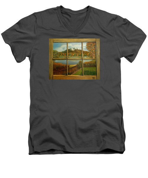 Men's V-Neck T-Shirt featuring the painting Out My Window-autumn Day by Sheri Keith