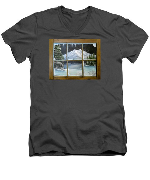 Men's V-Neck T-Shirt featuring the painting Out My Window-bright Winter's Night by Sheri Keith