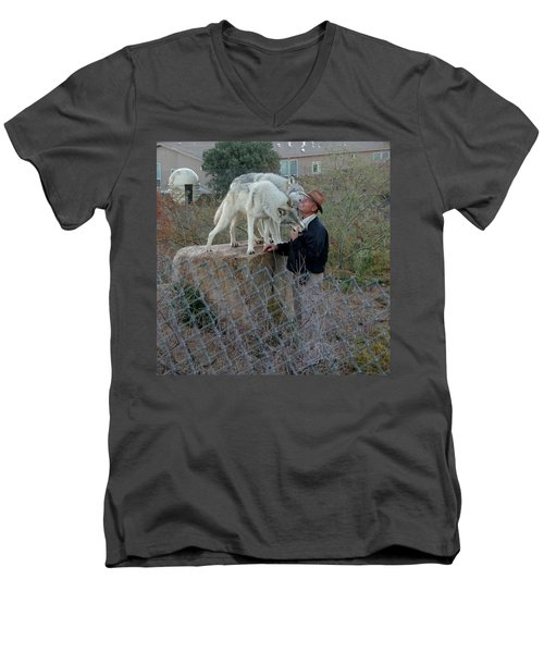 Out Of Africa  Friendly Wolves Men's V-Neck T-Shirt