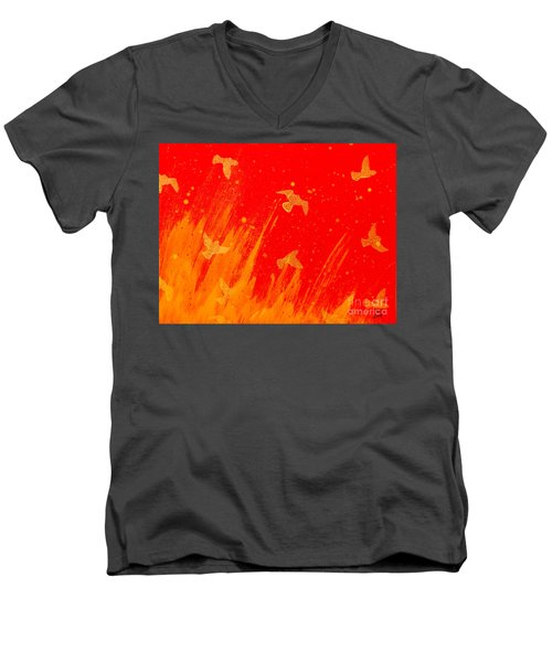 Out Of The Fire Men's V-Neck T-Shirt by Stefanie Forck