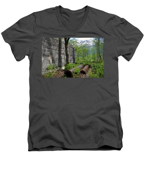 Men's V-Neck T-Shirt featuring the photograph Out From The Past by Cathy Mahnke