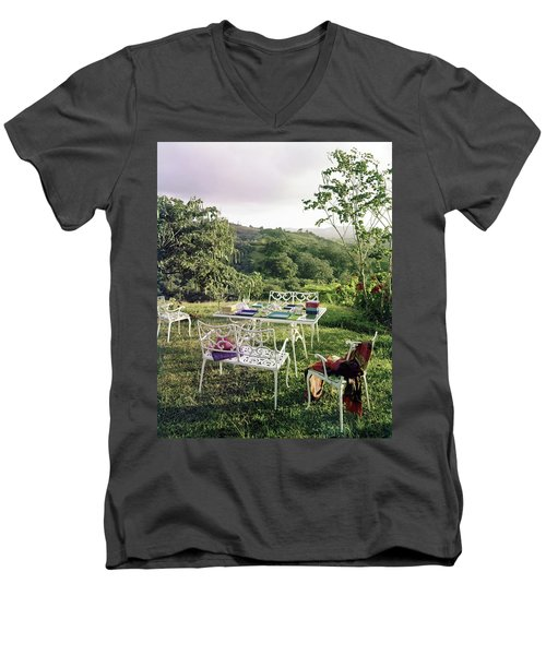 Outdoor Furniture By Lloyd On Grassy Hillside Men's V-Neck T-Shirt